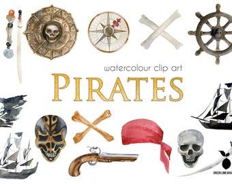 Pirates Clipart, Caribbean Pirates Clipart, Skulls, Digital Paper