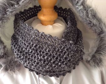 Crochet, infinity scarf, neckwarmer, cowl, Grey, Black, Gift,crochet loop scarf, bykimbles
