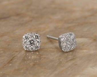Natural Diamond Cluster Square Shaped Stud Earrings. 18K Solid White Gold. VS Colorless Diamonds.