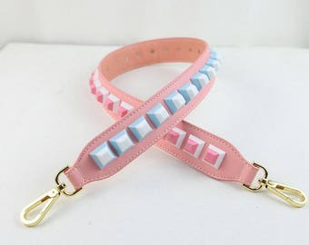 pink strap you Leather Stud Bag Strap Colorful Leather Strap Removable Strap for Bag and Purses Interchangeable Strap