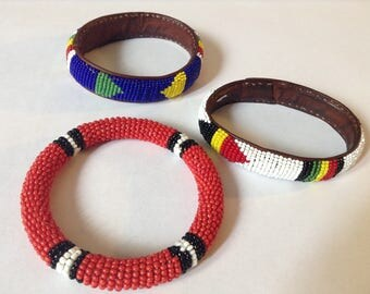 Stacked Tribal Beaded  Bracelets (Leather)