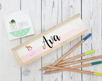 Wooden pencil case, personalised pencil case, stationery, desk tidy, pencil box, back to school, handpainted, children's gift