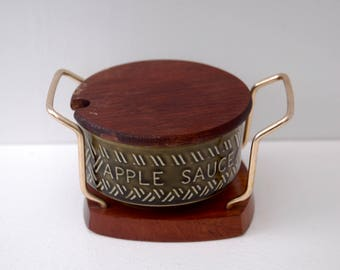 Lord Nelson Vintage Apple sauce pot with Wyncraft wooden holder and Teak lid 1970's