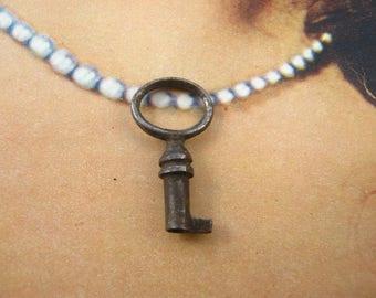 Antique french small key - Pendant key - necklace key