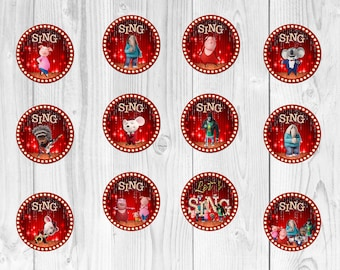 Sing cupcake toppers Sing cake toppers printable Sing the movie birthday decorations Sing party supply Sing birthday outfit Instant download