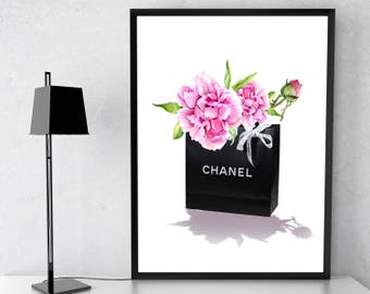 """Chanel poster """"Peonies"""". Coco Chanel Wall Art. Fashion Decor. Fashion Wall Art. Coco Chanel Print. Chanel Poster. Coco Chanel Decor. Chanel."""
