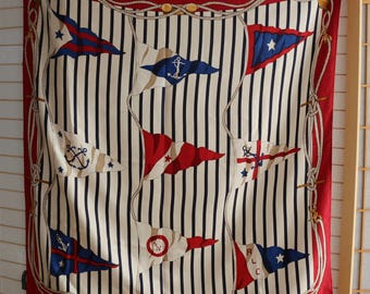Stunning Ralph Lauren silk scarf. Nautical stripes, ropes and pennants in red, white and blue.