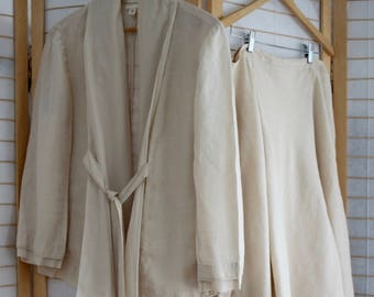 2 piece set by DKNY. Sz 14.  jacket and skirt in natural linen.