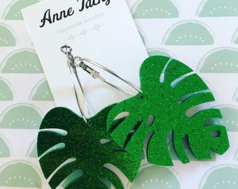 GIANT MONSTERA LEAF laser cut acrylic green  glitter earrings studs tacky festival wear kitsch retro style
