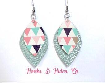 Mint/Triangle Double Leaf Earrings | vegan earrings, faux leather, double leaf earrings