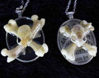 REAL Mouse Skull and Crossbones Necklace Cameo Pendent Ouija Board Occult Bone Jewelry Goth Victorian Lolita Macabre Oddities Oddity Gothic