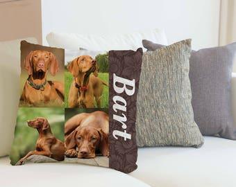 Photo collage Pillow, Personalized Photo Throw Pillow, Custom Pillows, Name Pillow, Dog Photo Pillow, Pet Memorial, Custom Pet Pillow,Pet