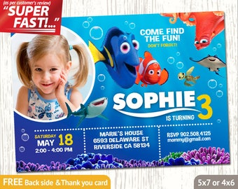 FINDING DORY PHOTO Invitation, Finding Dory Invitation, Finding Dory Birthday Invitation, Finding Dory Invite, Dory Thank You Card, v3u