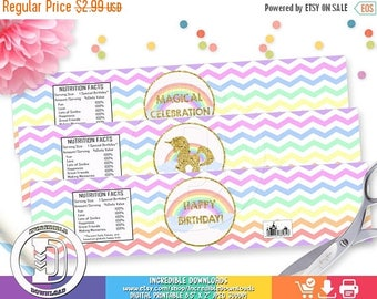 50% OFF SALE Unicorn Water Bottle Label, Rainbow Water Bottle Label, Magical, Unicorn Birthday Party Decorations, INSTANT Download