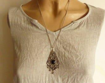 Vintage 925 Sterling Silver Filigree Genuine Black Onyx dangle pendant