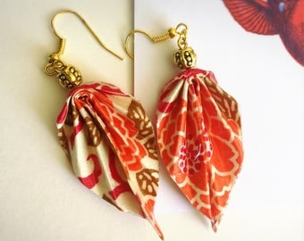 Jewelry ORIGAMI, earrings, paper, washi, pink, ORIGAMI Jewelry, Leaf Earrings, pink