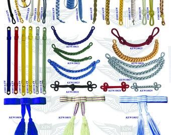 Custom made military uniform accessories,cap cord,cap strap,waist belt,chin strap