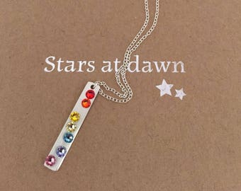Dainty sterling silver bar necklace set with rainbow Swarovski crystals