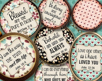 BIBLE VERSETS **  Digital Collage Sheet Printable Instant Download for art jewelry scrapbooking bottle caps magnets pins