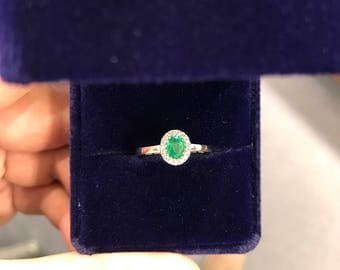 Classic Halo Emerald Engagement Ring!
