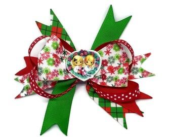 Christmas Angel Hair clip ~ Xmas Hair Bow ~Christmas stacked boutique bow ~ Xmas Party hair bow ~ Xmas hair accessories ~ UK Handmade bows