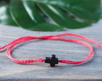 Black Cross Red String Bracelet Red String of Fate Christian Wish Bracelet Red Cord Thread Kabbalah Bracelet Cotton String Christ Bracelet