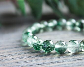 Sister Bracelet Green Yogi Bracelet Green Beads Bracelet Dragon Bracelet Crystal Clear Glass Chakra Bracelet Crackle Quartz Beads Arm Candy