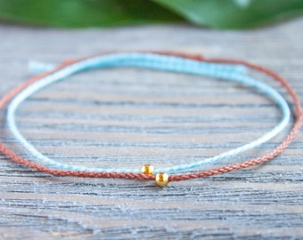 Couple Bracelet Long Distance Gift Mother Daughter Brown and Blue Silver Wish Bracelet Matching Bracelet Blue String Bracelet Tiny Gold Bead