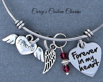 Friend Memorial Keepsake Charm Bracelet, Swarovski Birthstone, Sympathy Gift, Forever In My Heart, Angel Wing, Stainless Steel, Best Friend