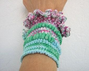 Crochet bracelet Cuff bracelet Wrap cotton bracelet Freeform colorful bracelet Summer wide Girls cuff bracelet  Pretty hand crochet
