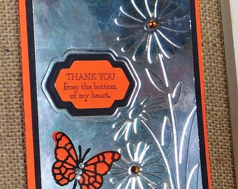 Butterfly Thank you homemade card with embossed daisies.