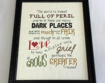 Cross Stitch Pattern: Lord of the Rings Tolkien quote