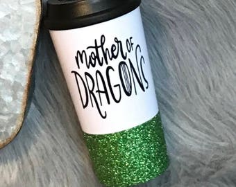 mother of dragons glitter dipped travel mug, mother of dragons, game of thrones, glitter dipped mug, coffee tumbler, travel mug, coffee gift