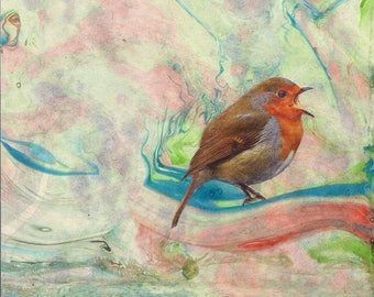 Bird picture in beautiful marble background - choice of 2 Art Print - Bird Decor - Modern Decor - Bird Print - Ornithology Art