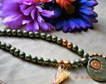 Handmade Terracotta Olive Green Jewel Set