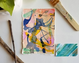Pastel Equinox. 5 // Mixed media - modern abstract expressionist watercolor painting on paper. 5x7.