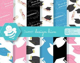 Graduation digital papers, Graduation papers, Graduation scrapbook papers, graduation cap papers, commercial use, DP0018