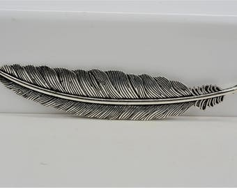 Large Feather Pendant, Large Feather Charm, Metal Feather Pendant, Metal Feather Charm