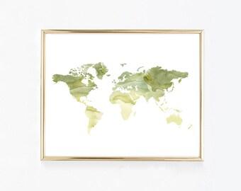 Green World Map Watercolor