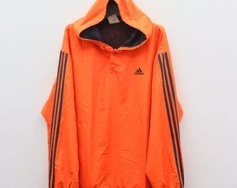 Vintage ADIDAS Sportswear Orange Hoodies Windbreaker Size XL