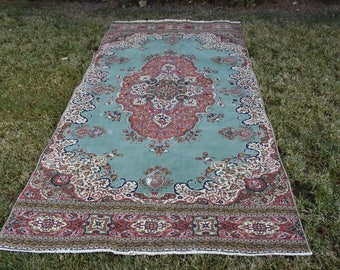 Rare Ottoman Decorative Floor Rug Free Shipping Turkish Rug 4.6 x 9.7 feet Vintage Oushak Rug Bohemian Aztec Rug Decorative Boho Rug DC957