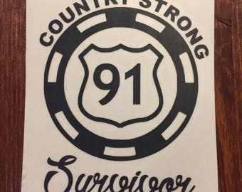 Country Strong Survior Poker Chip Decal