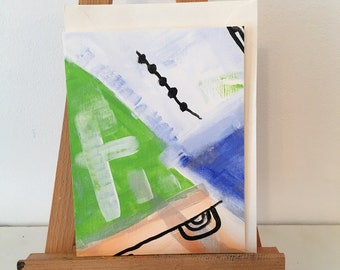 Hand Painted Card, Abstract Painted Cards, Card, Greeting Card