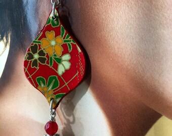 Japan, genuine Japanese washi paper earrings, original, lightweight, 2018 Spring