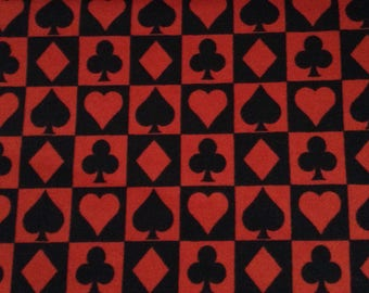 1.75 yards of Flannel/Hearts, Spades, Clubs, Diamonds/Black and red cotton fabric by the yard
