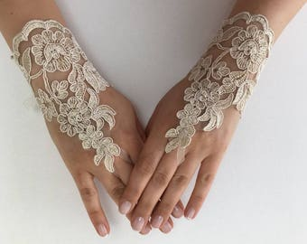 EXPRESS SHIPPING Wedding gloves beaded pearls Champagne Pink or Ivory  bridal gloves lace gloves fingerless gloves french lace gloves