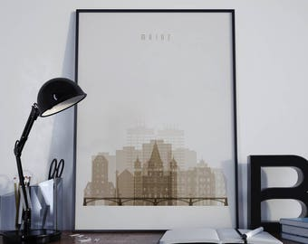 Mainz Art Mainz Watercolor Mainz Wall Art Mainz Wall Decor Mainz Home Decor Mainz City Mainz Skyline Mainz Print Mainz Poster Mainz Photo