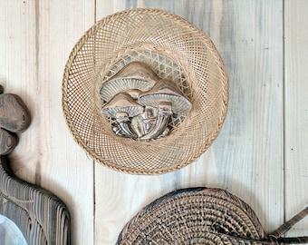 vintage brass mushroom wall hanging | brass boho decor | fungi