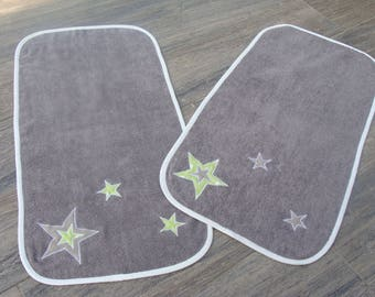 Swaddling baby green white and gray (made to order)