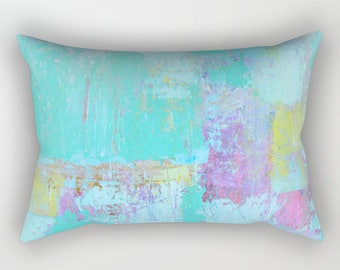 throw pillows lumbar, Art Pillow, INCLUDES insert and zipper, Turquoise color, free shipping